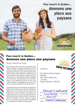 Pour nourrir le Québec, donnons une place aux paysans